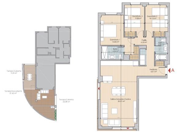 Exempel planlösning - Entréplan med inglasad terrass och terrass. Boyta om 156,37 kvm