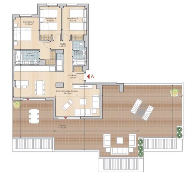 Exempel planlösning två trappor - boyta om 86,13 kvm