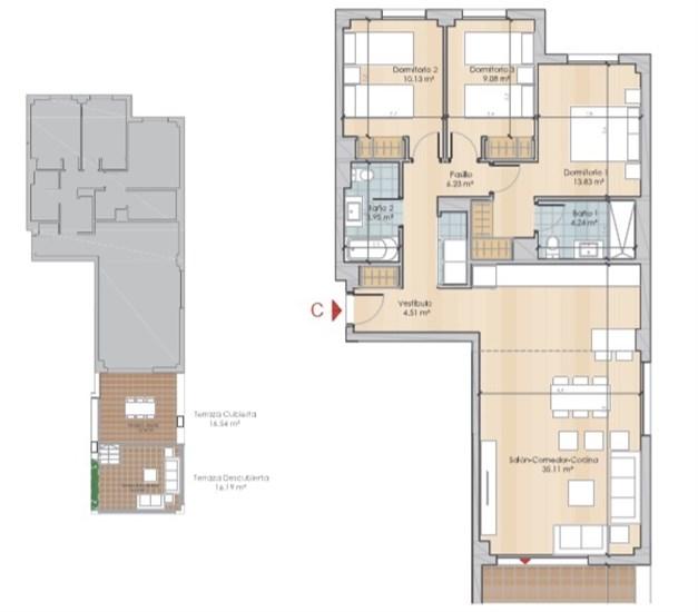 Exempel planlösning - Entréplan med inglasad terrass och terrass, med en boyta om 103,62kvm