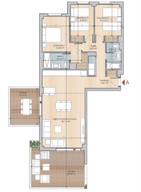 Exempel planlösning, två trappor - boyta om 87,08 kvm