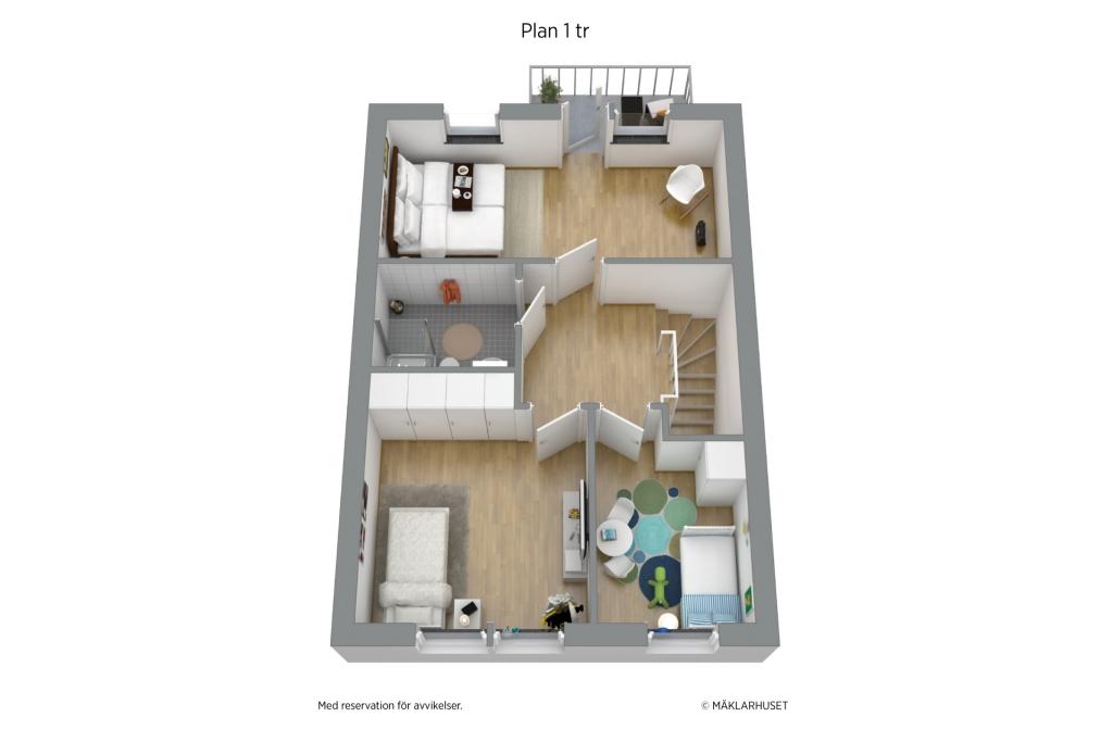 Planlösning övre plan i 3D möblerad