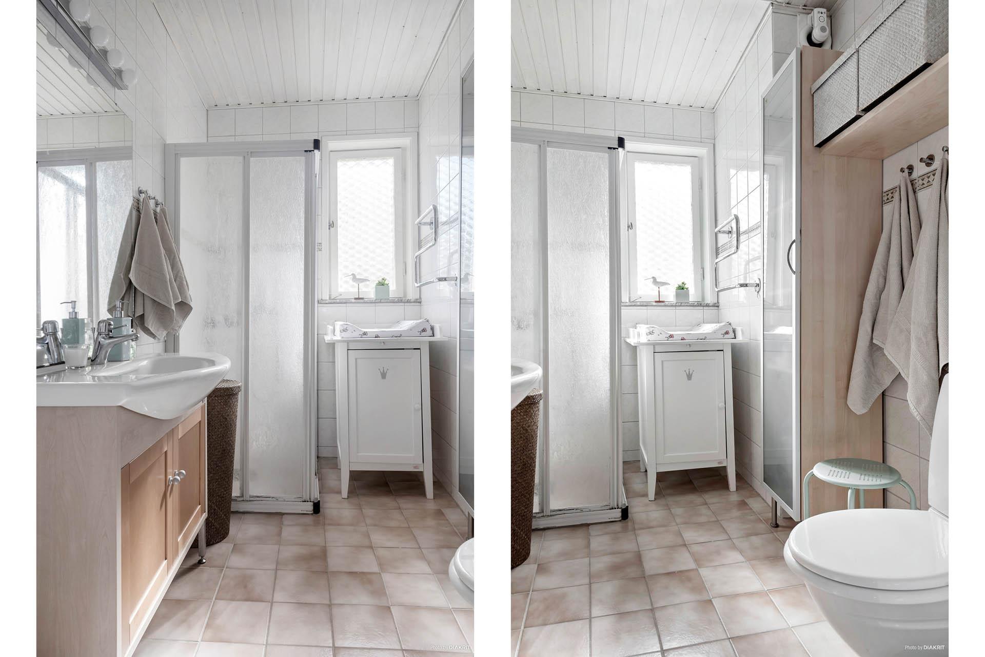 Badrummet. Helkaklat, skönt ljusinsläpp tack vare fönster samt rejäl tvättställskommod.