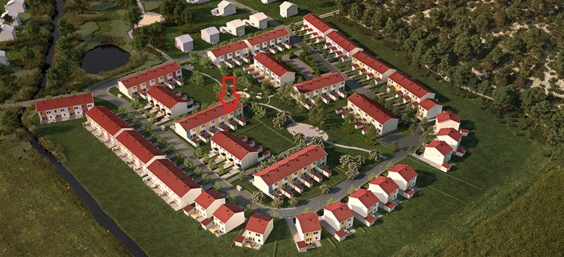 Bostadens placering, se pil