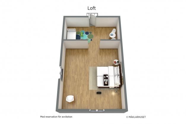Planritning Loft 3D