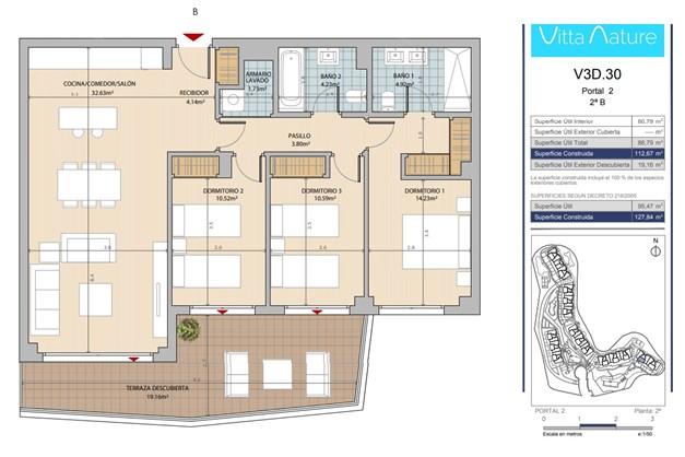Exempel på planlösning, 3 sovrum.