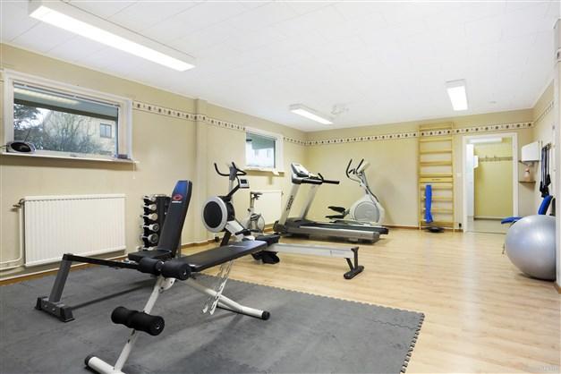 Gym i ett av husen att användas av medlemmar i föreningen för en ödmjuk summa.