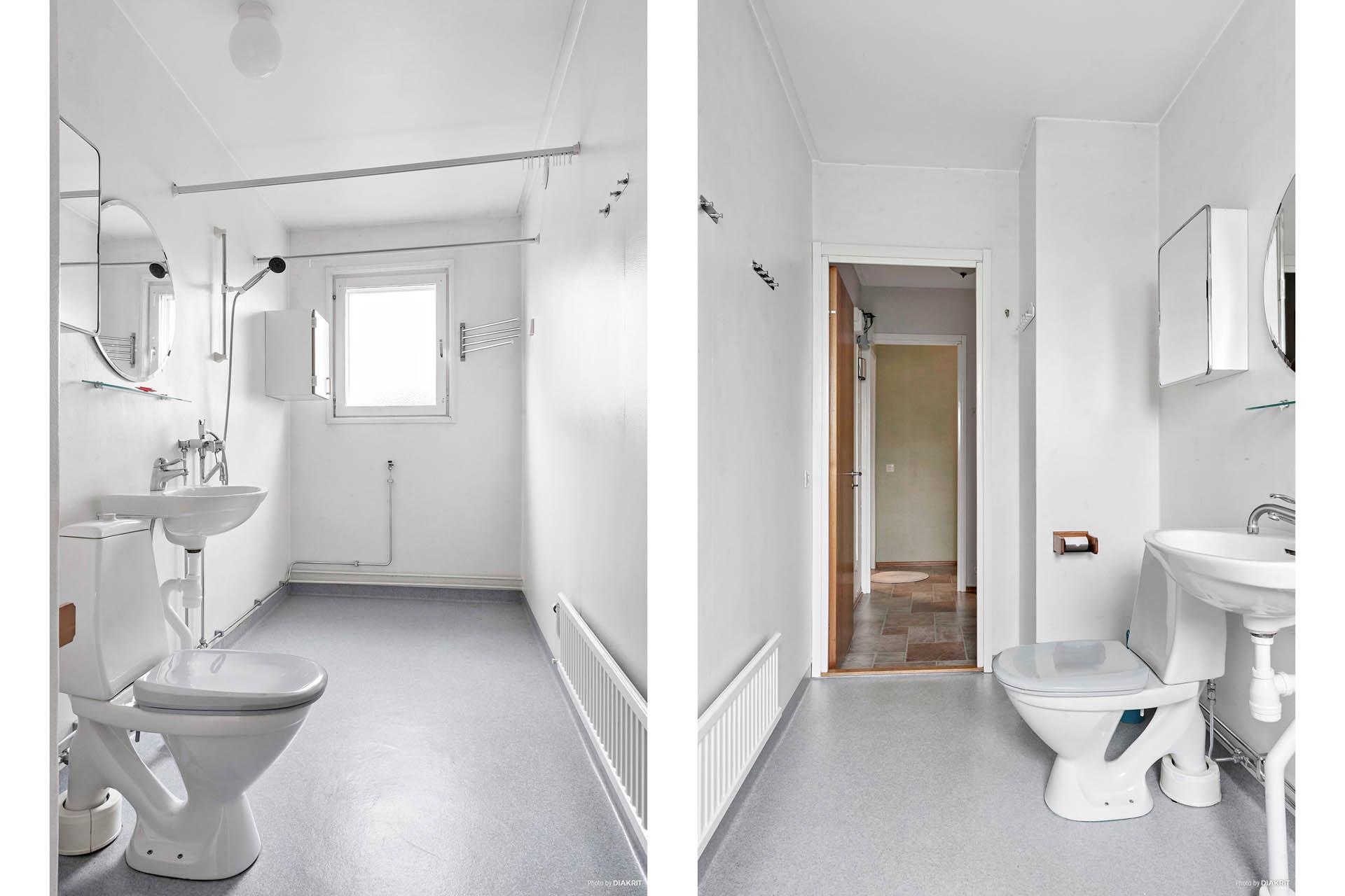 Toalett med dusch.