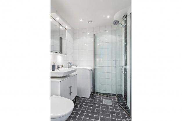 Helkaklat duschrum med tvättmaskin
