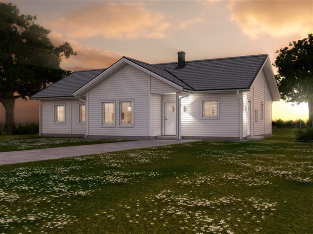 """Husmodellen """"LB Optimal 133:NU"""" från LB Hus är ett förslag på husmodell som hade passat på tomten. För mer info om förslaget, kontakta Mikael Kahlin på LB Hus."""