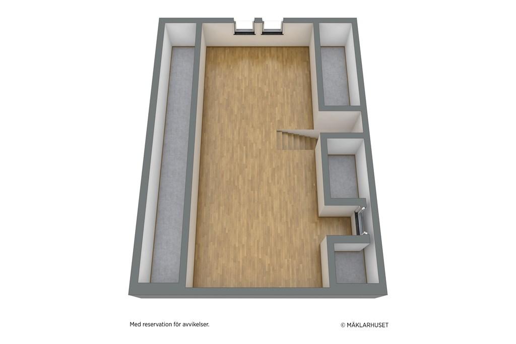 Parhus: planskiss 3D överplan - obs avvikelser kan förekomma