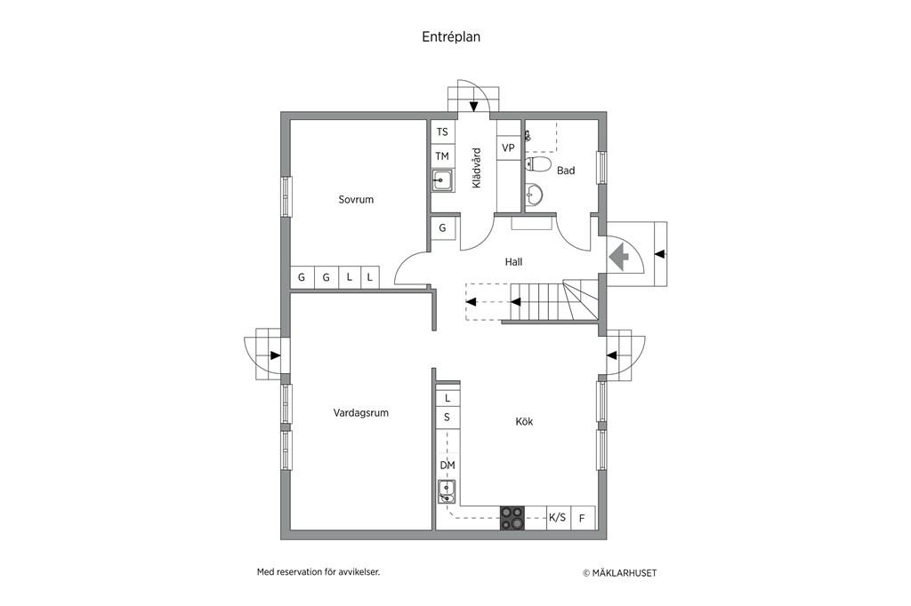 Parhus: planskiss  entréplan - obs avvikelser kan förekomma