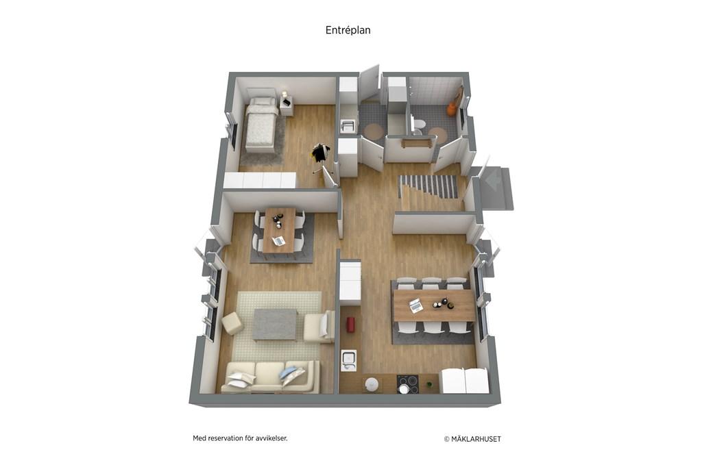 Parhus: möblerad planskiss 3D entréplan - obs avvikelser kan förekomma