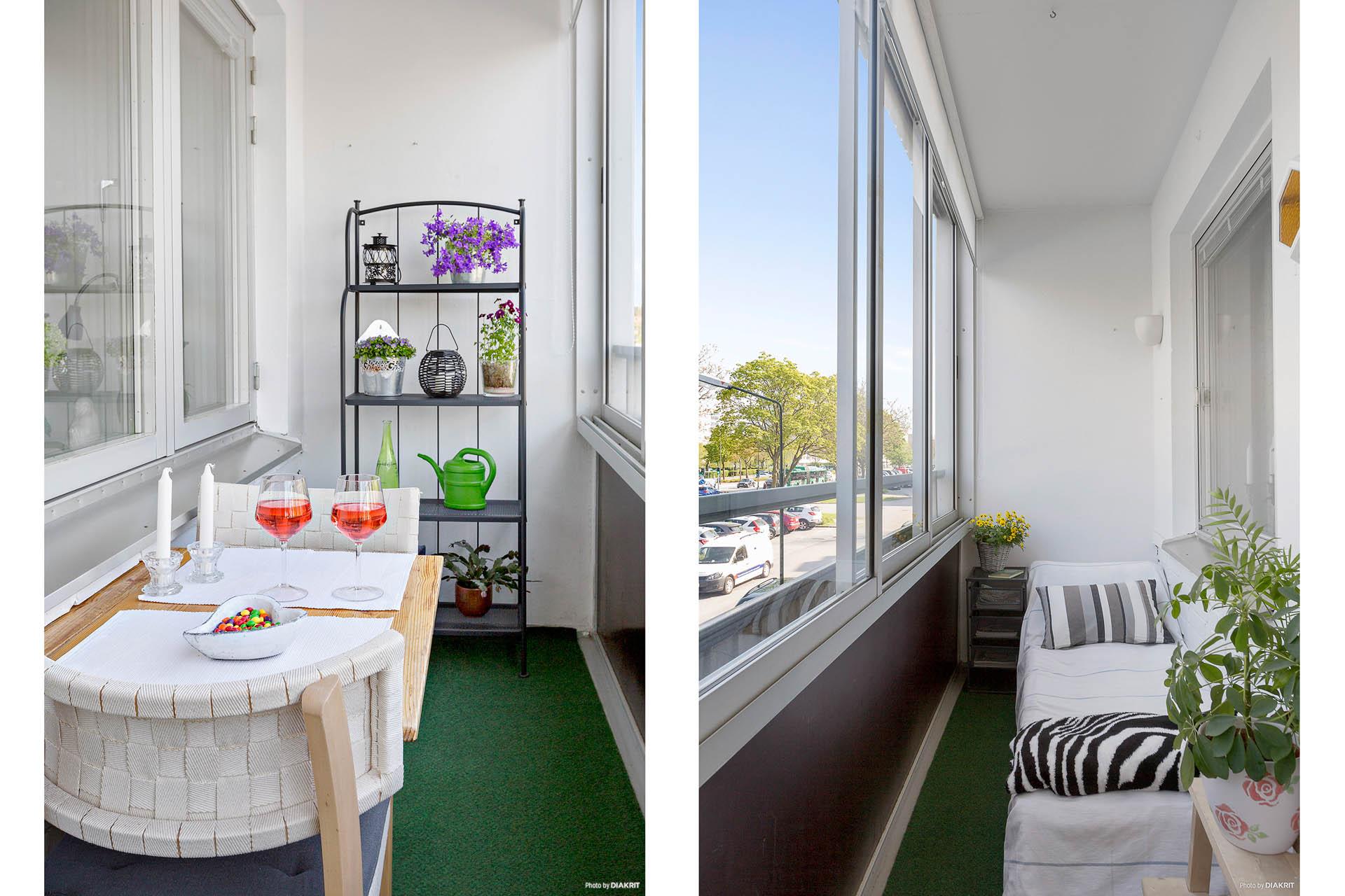 Behaglig balkong utanför kök och vardagsrum
