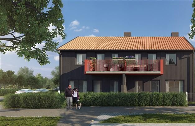 Parhusen har svarta fasader och radhusen har röda.