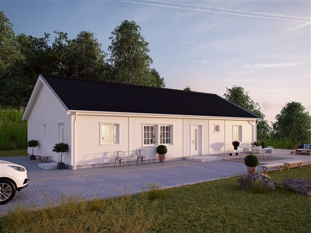 Förslag på hustyp från Myresjöhus, Smart 126