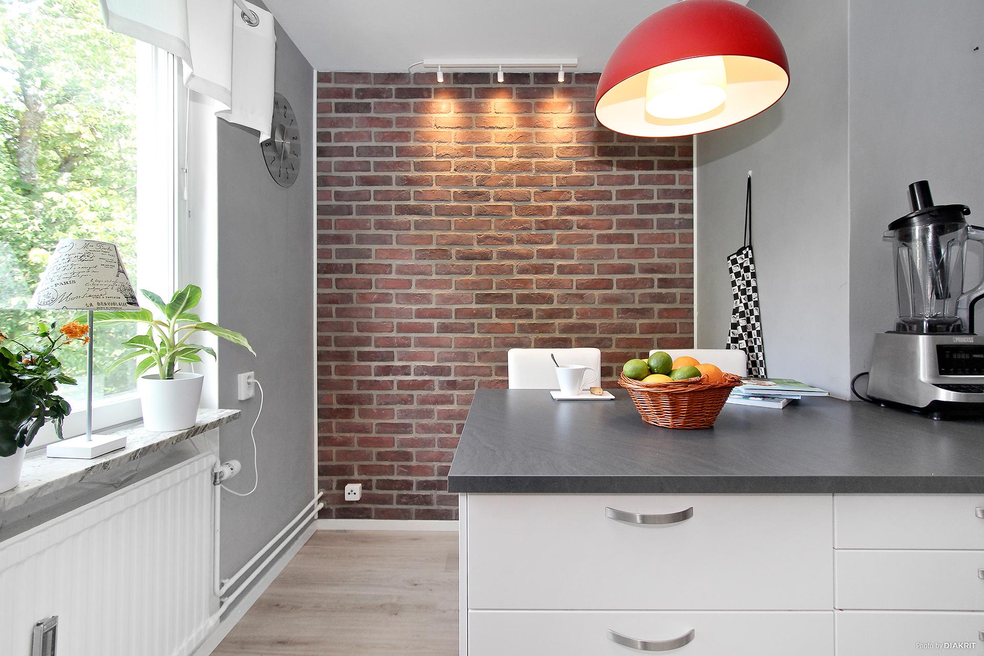 Uppmurad vägg i kök