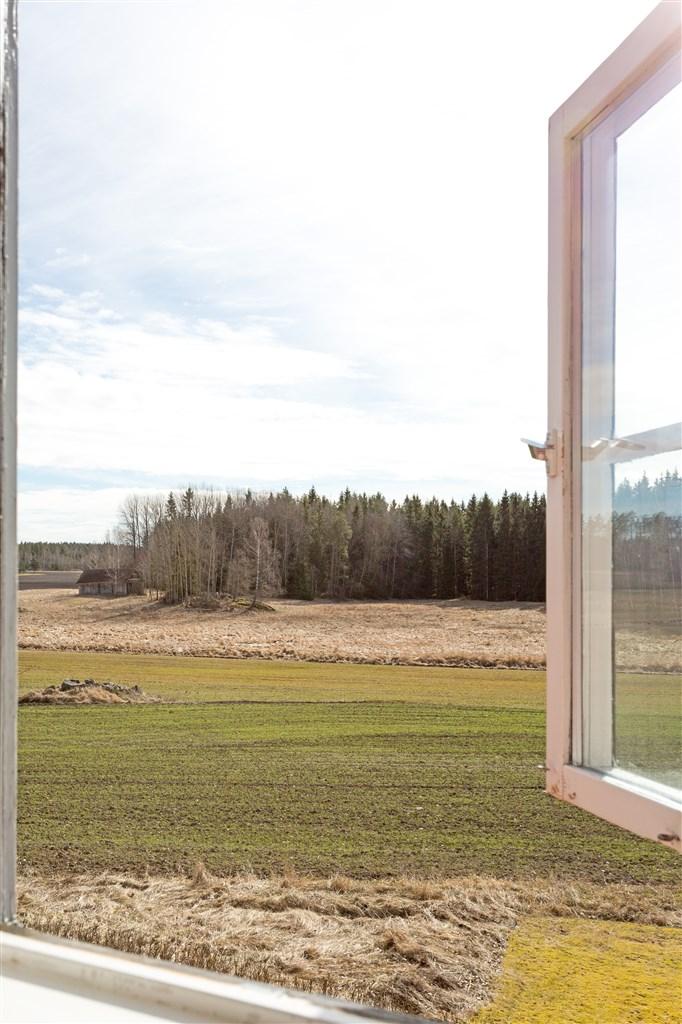 Utsikt från sovrummet (3) över skog och åkrar.