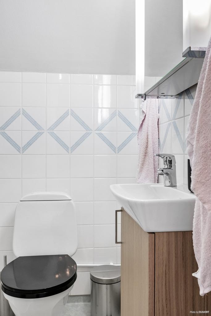 Toalett/dusch med kaklade väggar