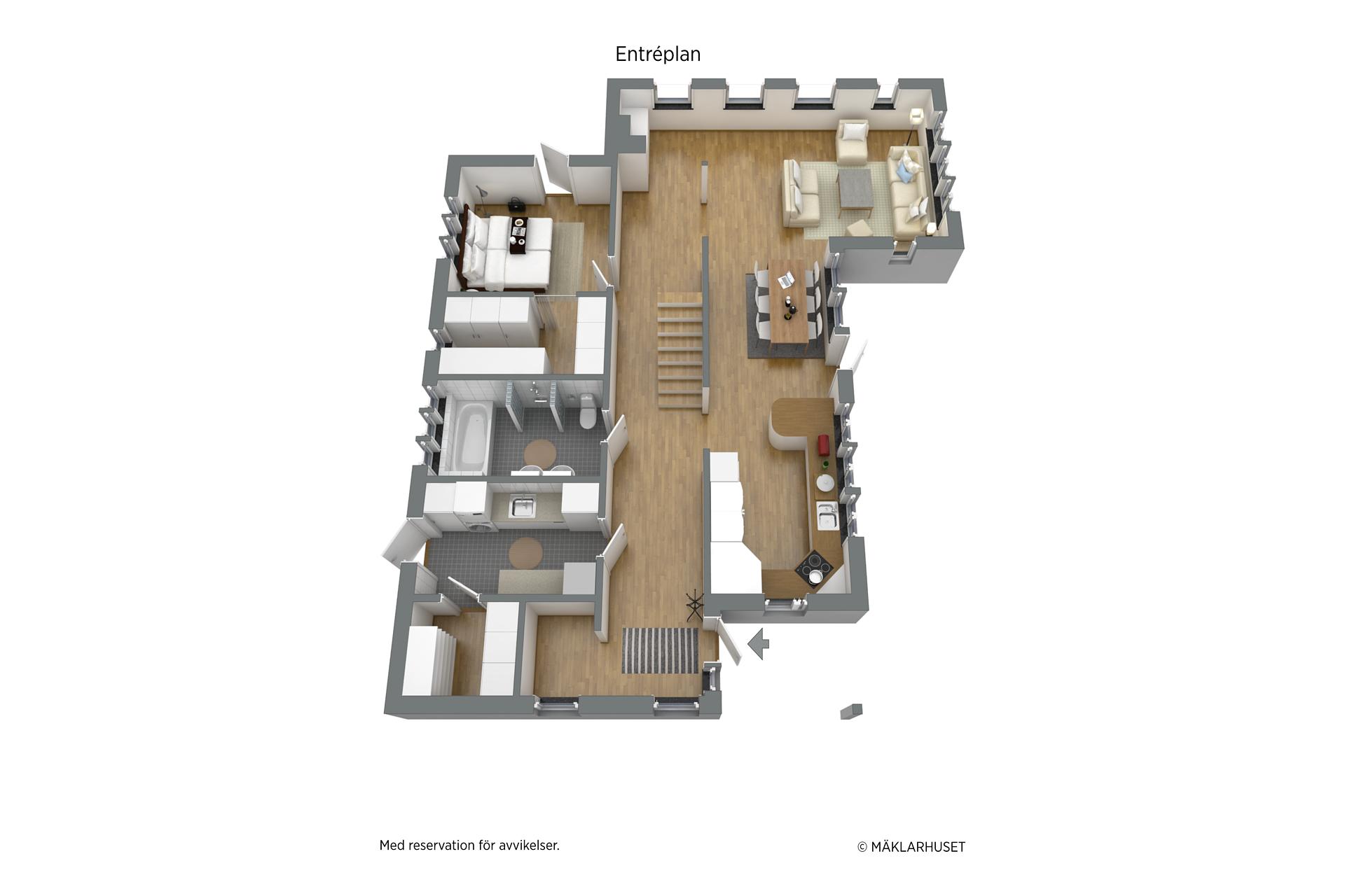 Planlösning entréplan 3D