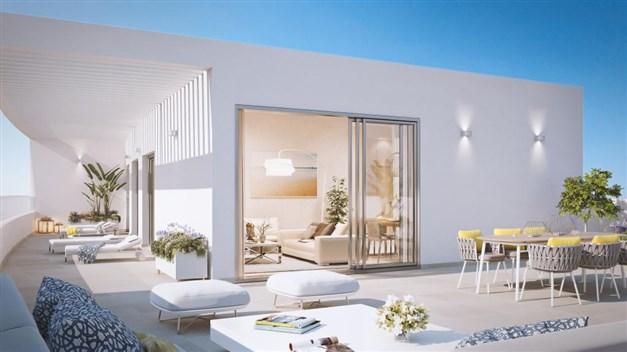Illustrationsbild - Trevlig takterrass lägenheterna högst upp