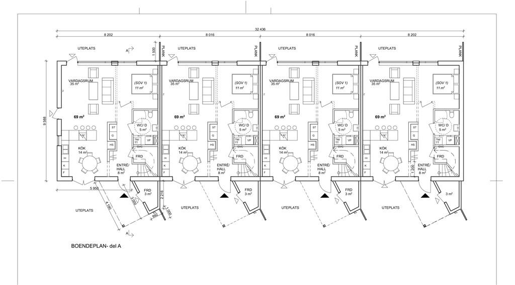 Planritning bottenplan 1A, 1B, 3A, 3B