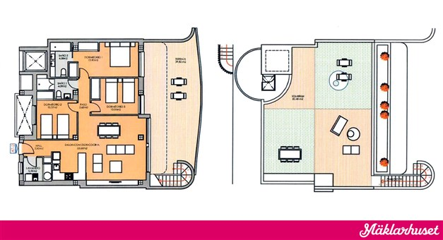 3 sovrum 2 badrum m takterrass