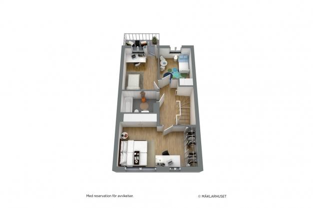Planritning Övre plan 3D