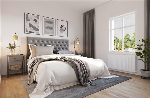 3-4 sovrum på övre plan (antingen ett större allrum och 3 sovrum alternativt 4 sovrum och ett mindre allrum). Ytterligare sovrum/kontor på entréplan.