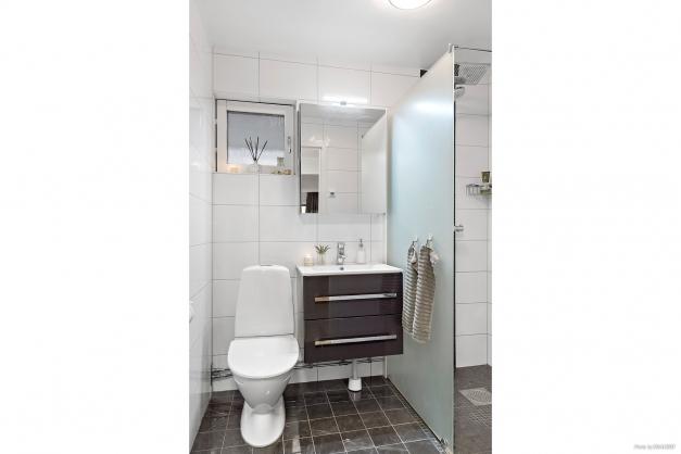 Elegant, helkaklat badrum