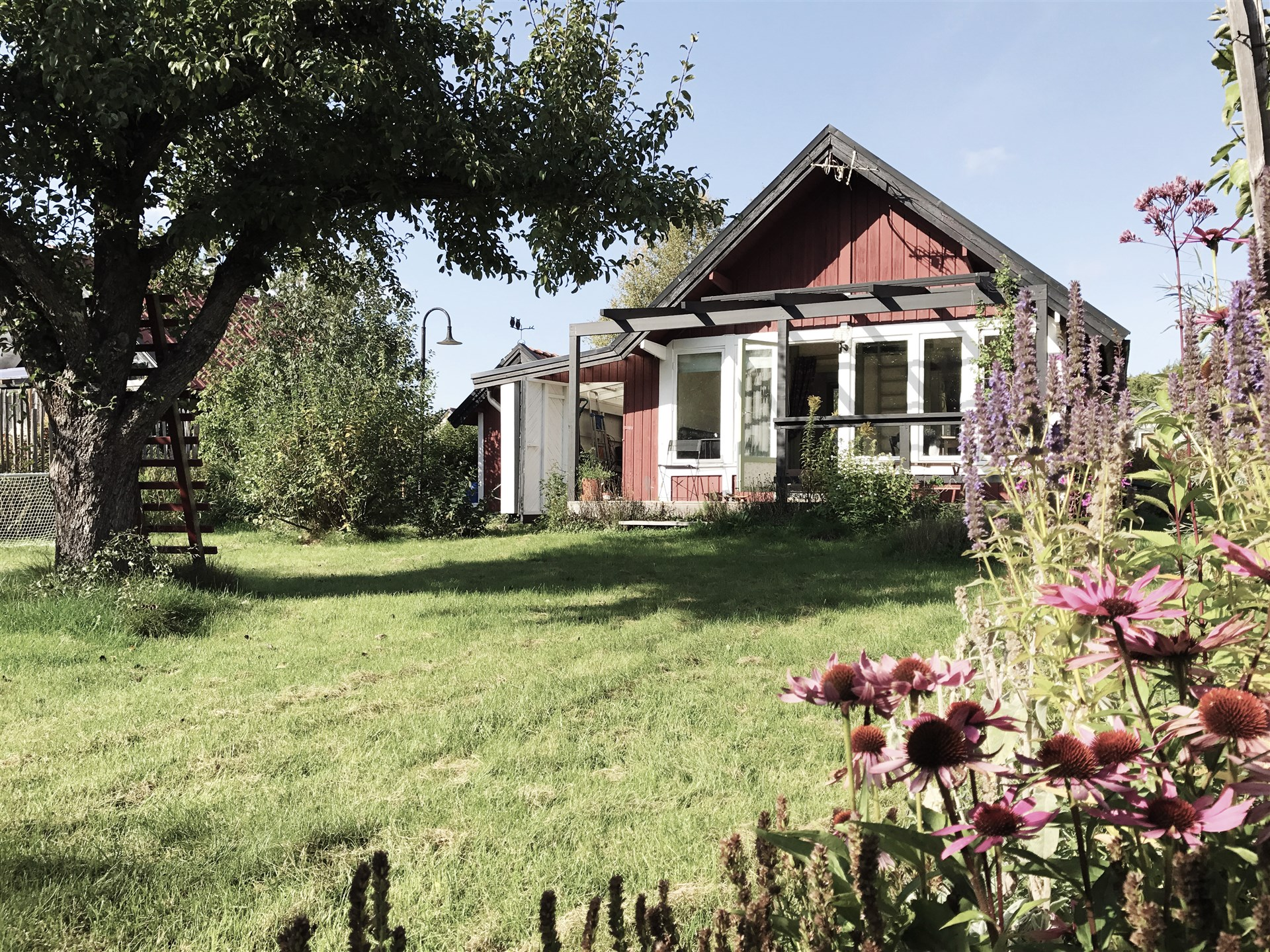 Huset i sin sommarskrud på husets baksida.