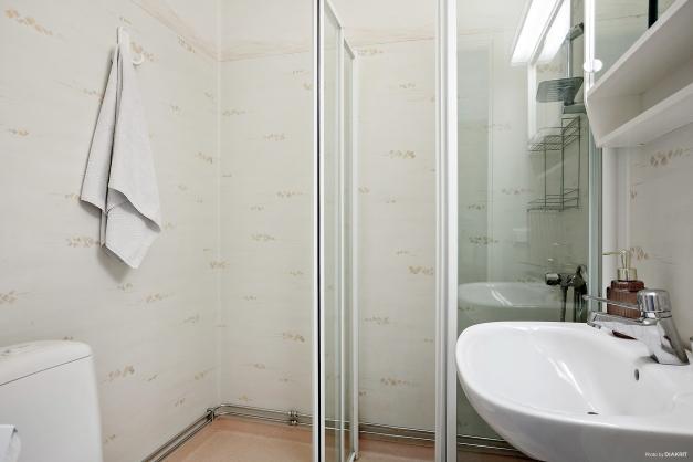 Badrum i ljusa färger och utrustat med dusch, handfat, spegelskåp och wc