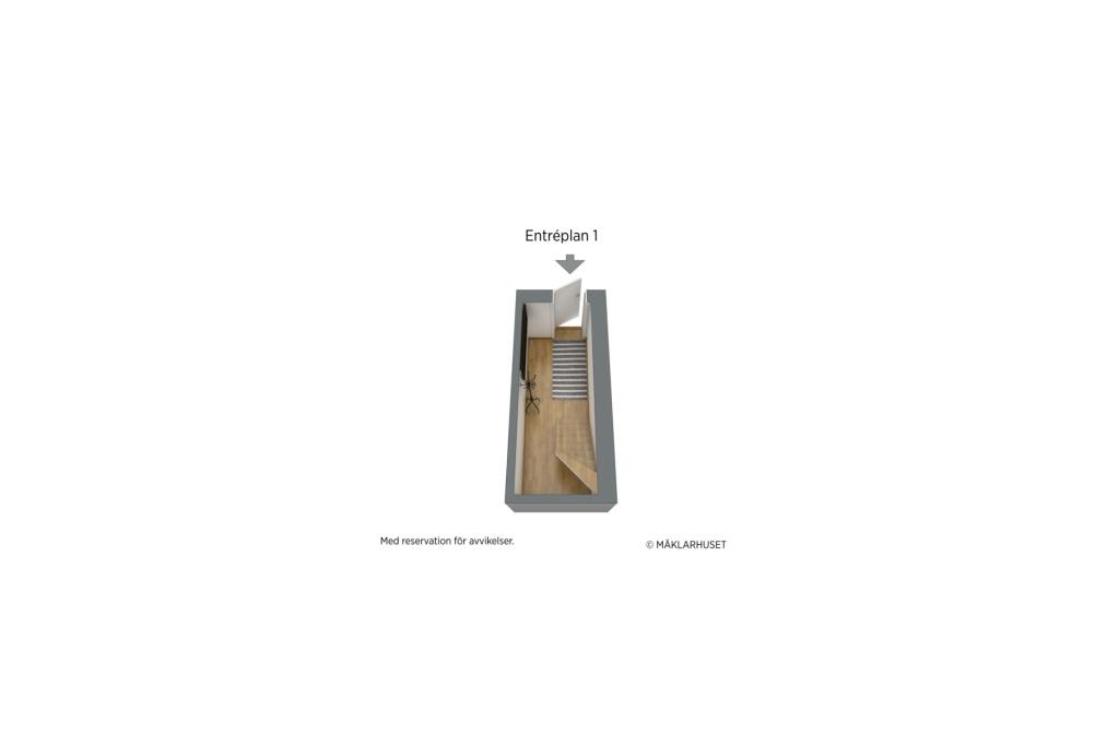 Planlösning våningsplan 1, 3D.