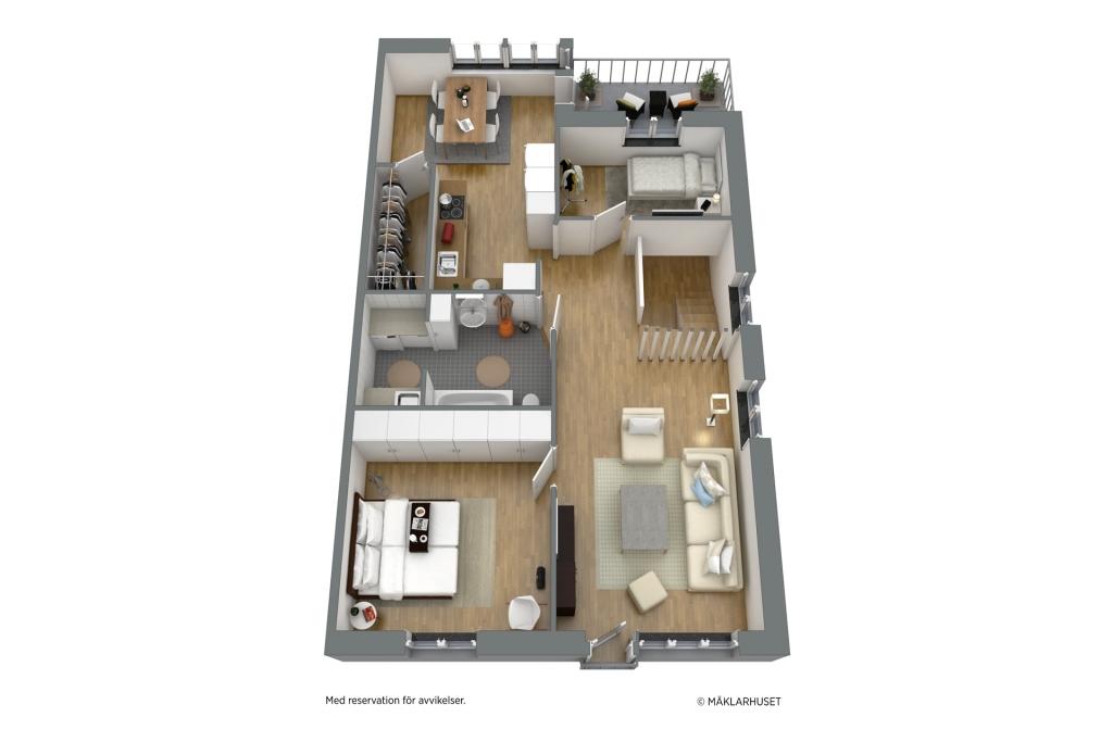 Planlösning våningsplan 2, 3D.