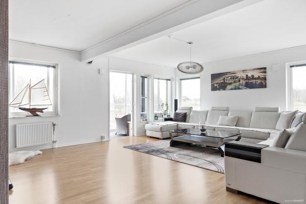 Stort härligt vardagsrum med mycket fönster