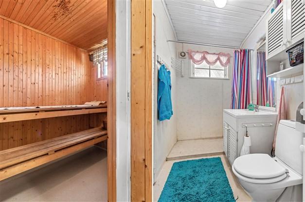 Badrum med vatttenwc och dusch samt ingång till bastu