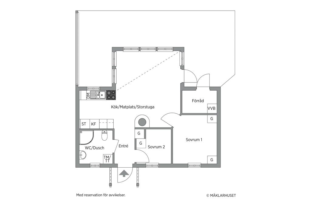 Planlösning rättvänt hus