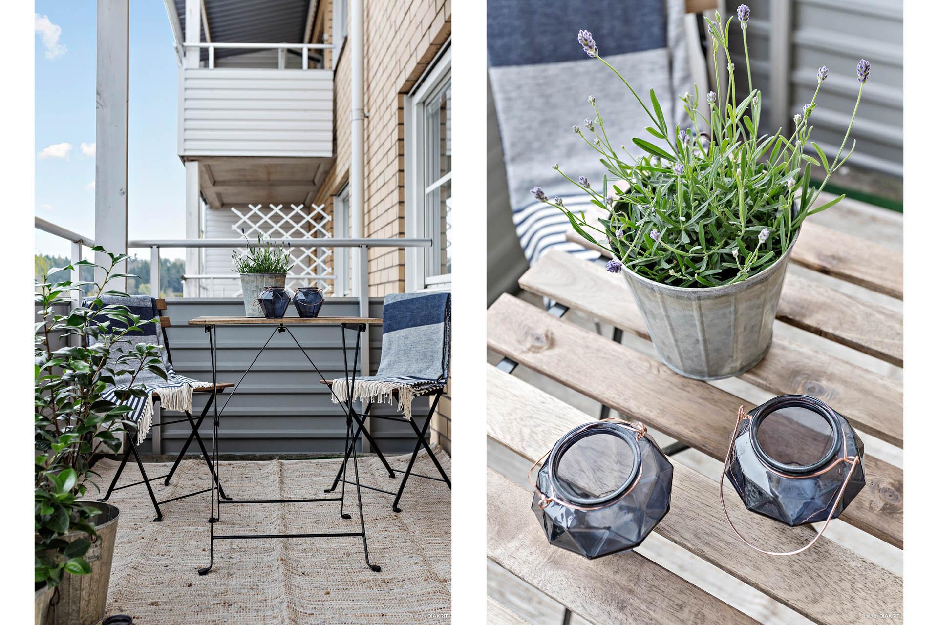 Mysig balkong ut mot innergård