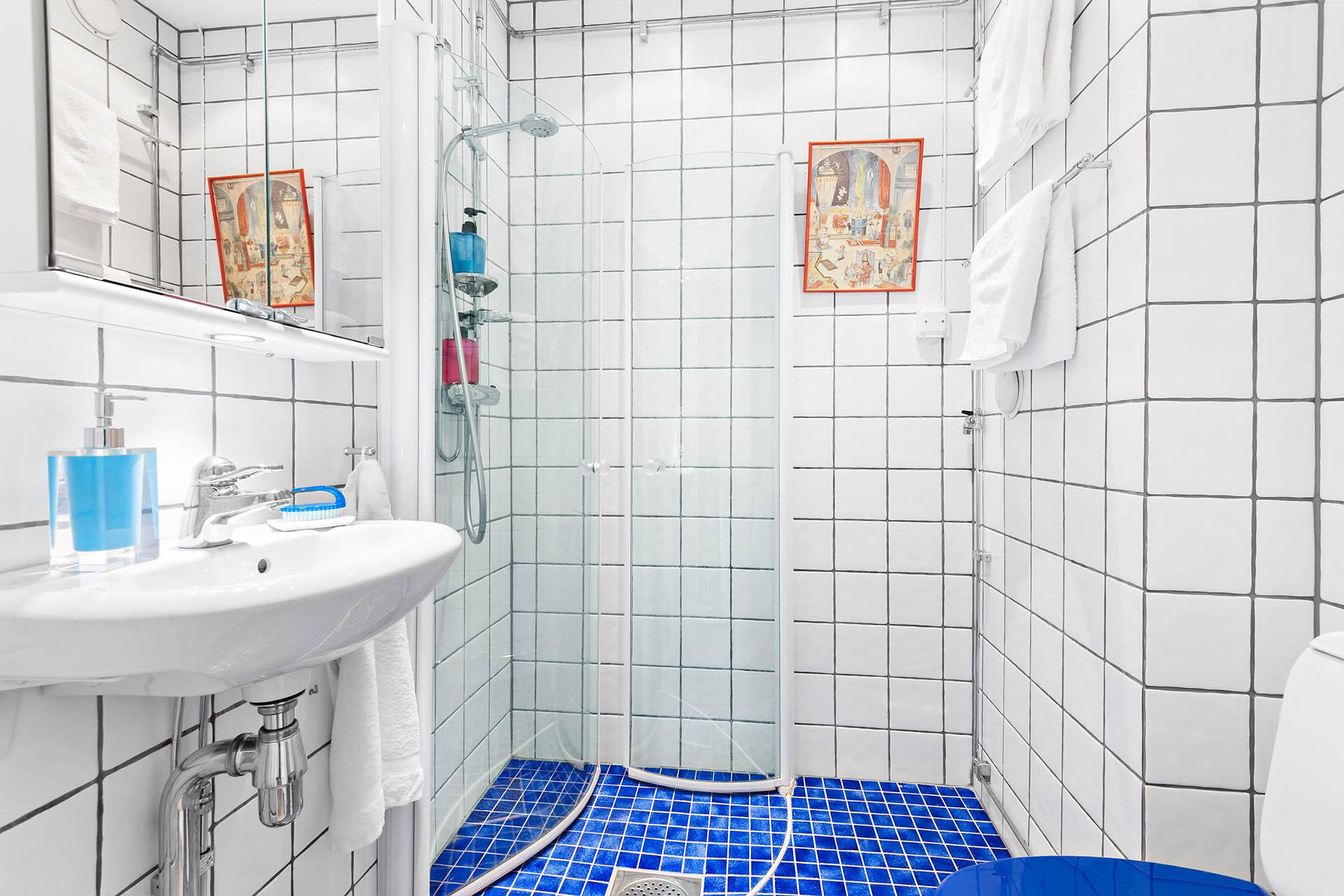 Helkaklat badrum med plats för liten tvättmaskin