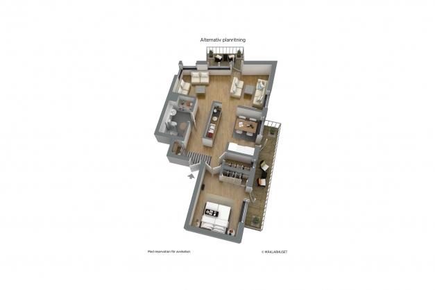 Möblerad 3D - Alternativ planskiss med förslag på möblerbar vägg mellan kök och rum