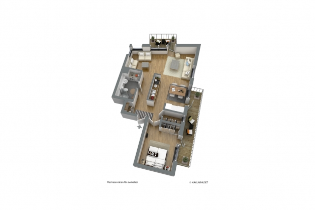 Planskiss - möblerad 3D