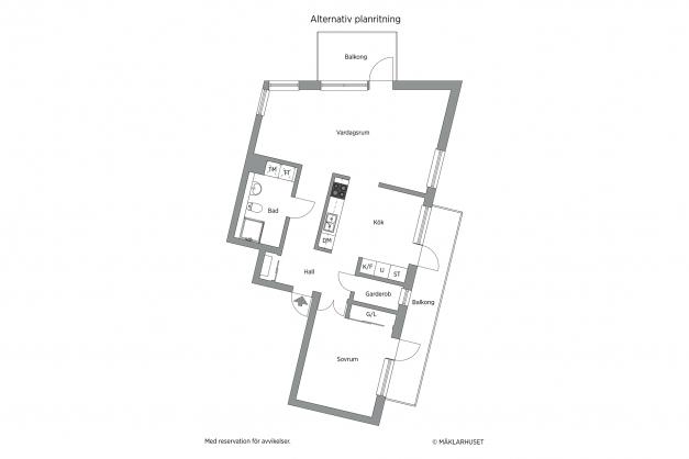 2D - Alternativ planskiss med förslag på möblerbar vägg mellan kök och rum