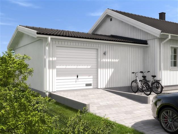 Vidbyggt garage med plats för förvaring, modell V21