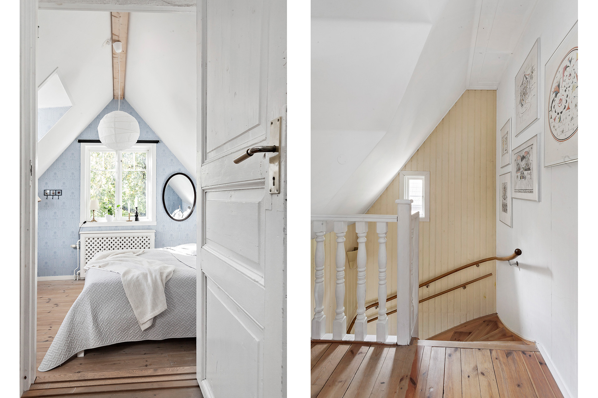 Den vackra trappan leder till övre plan. Första rummet är det fantastiska föräldrasovrummet.