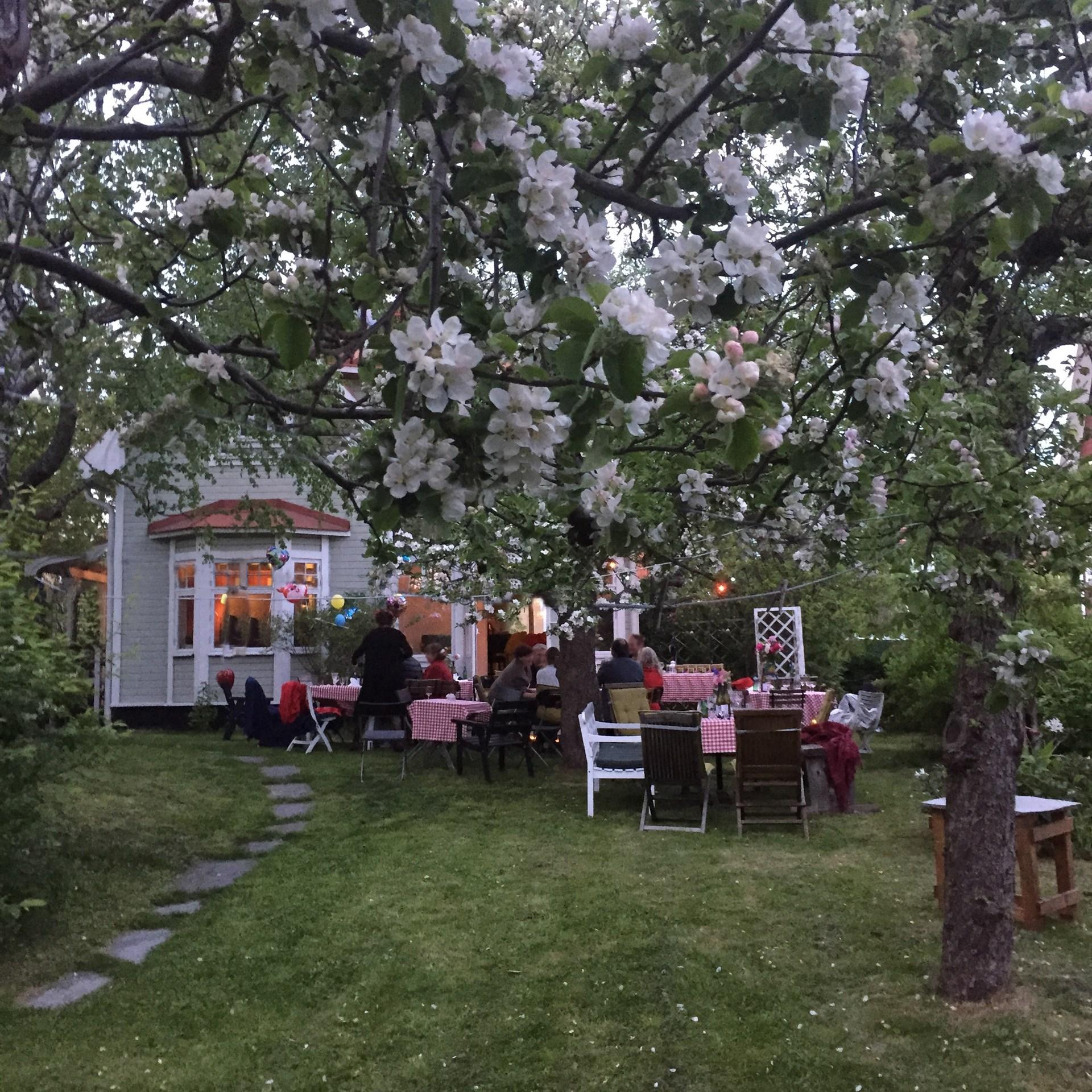 Säljarens egna bilder - att njuta av trädgården tillsammans med släkt och vänner.