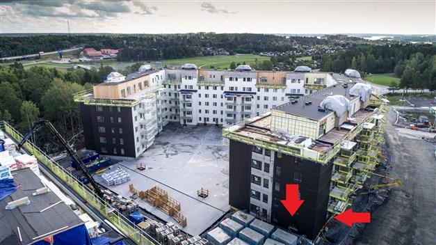 Lägenheten markerad