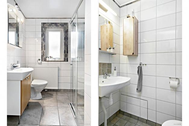 Helkaklat badrum och helkaklad gästtoalett