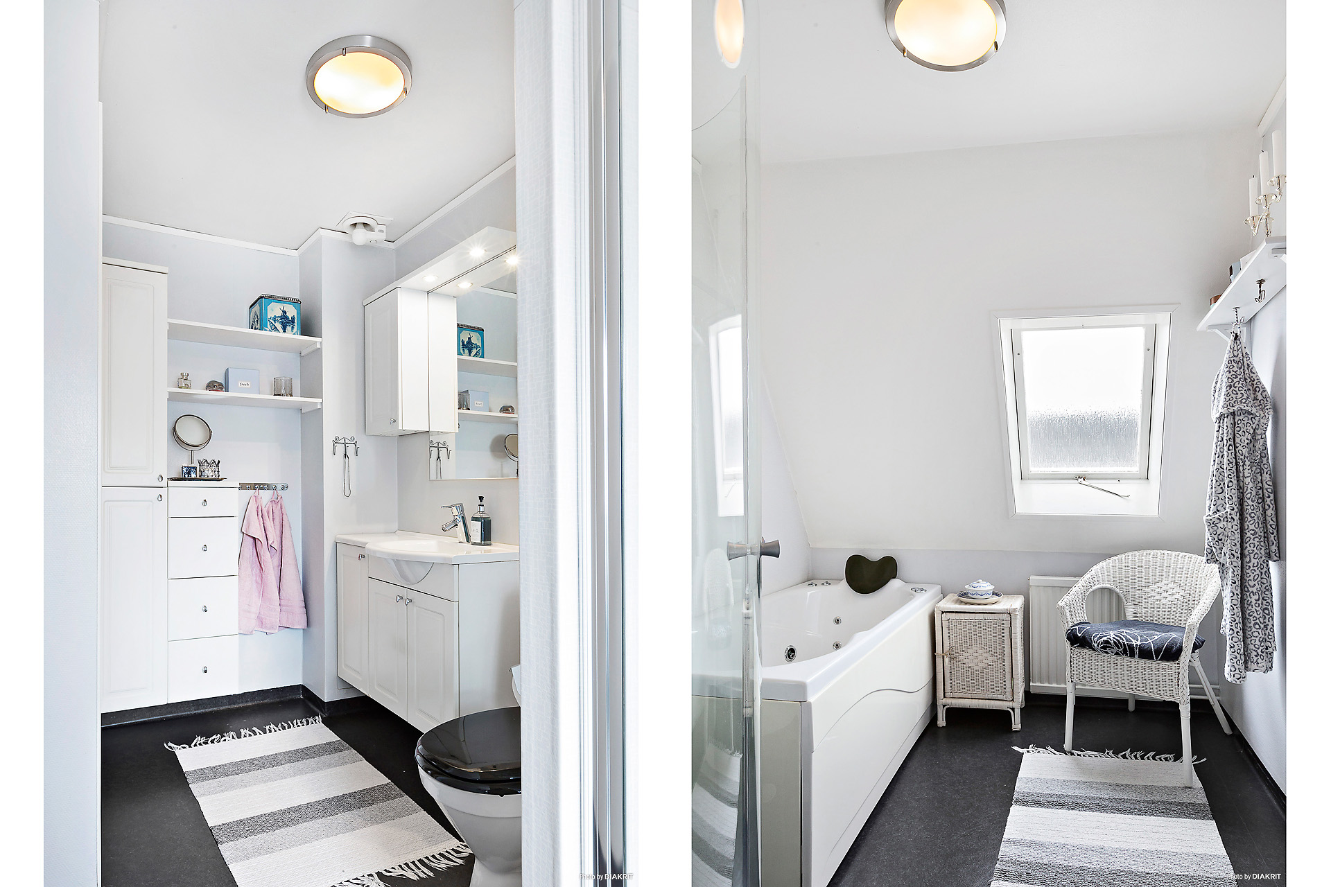 Badrum med dusch och bubbelbadkar.