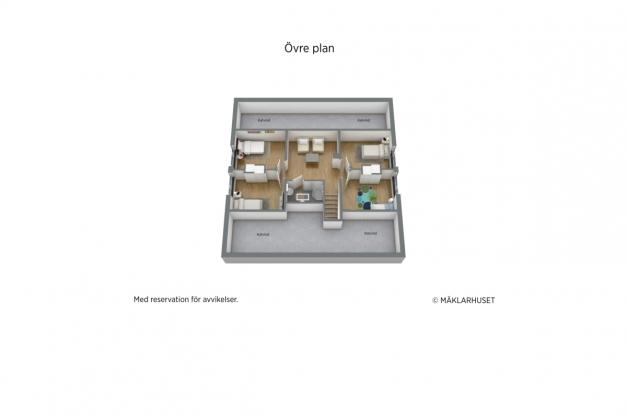 Övre plan 3D planritning.