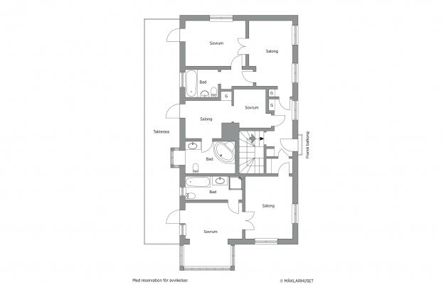 Den här planen visar hur man kan utveckla ovanvåningens Takaltan med utgång från tre av rummen. En stor tillgång för fastigheten.