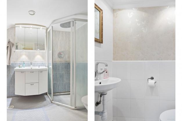 Till vänster: Badrum på övre plan Till höger: Toalett/wc